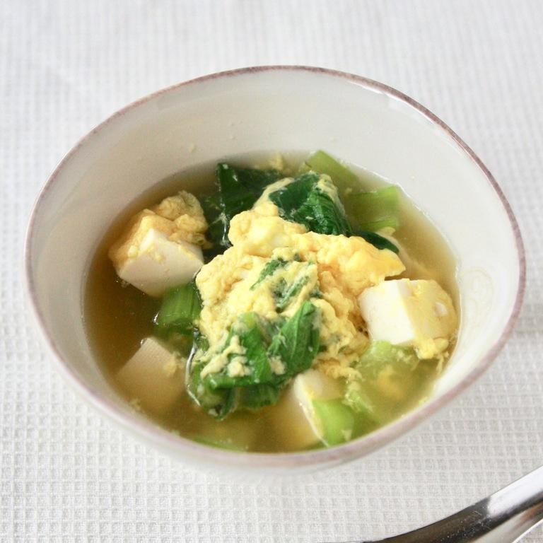 青梗菜と豆腐のかき玉スープ