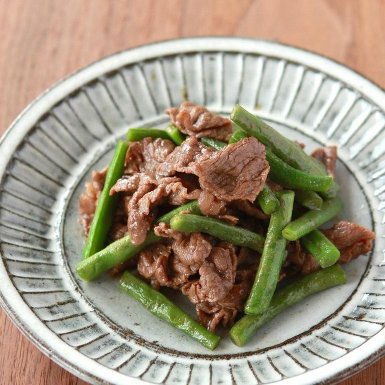 牛肉といんげんの甘辛煮