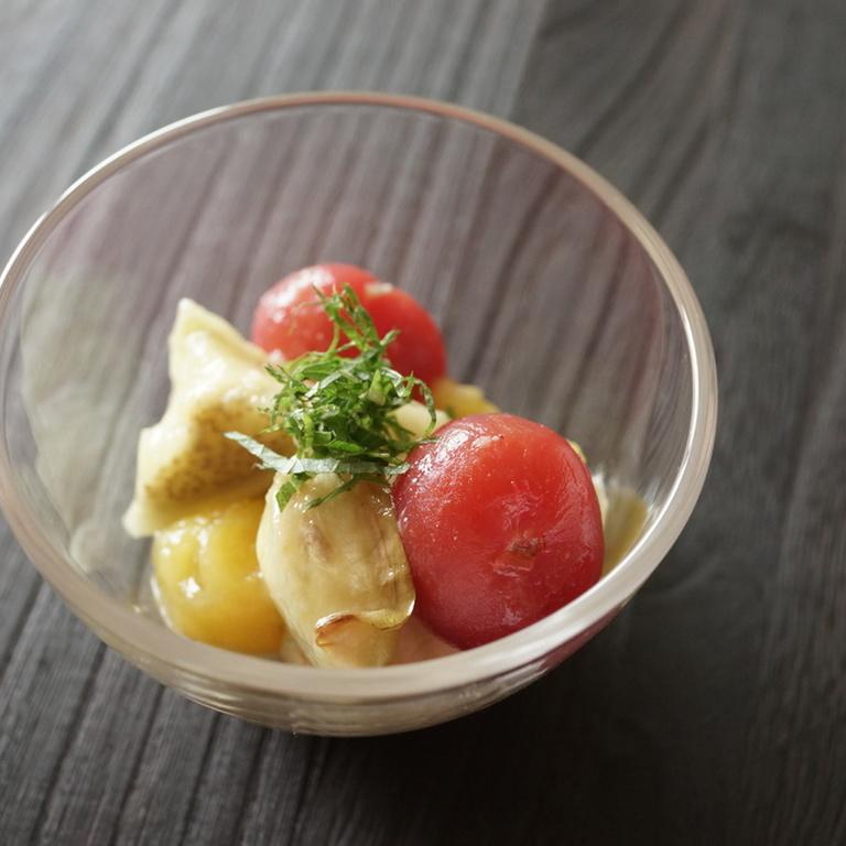 焼き茄子とトマトの冷製 柚子胡椒風味