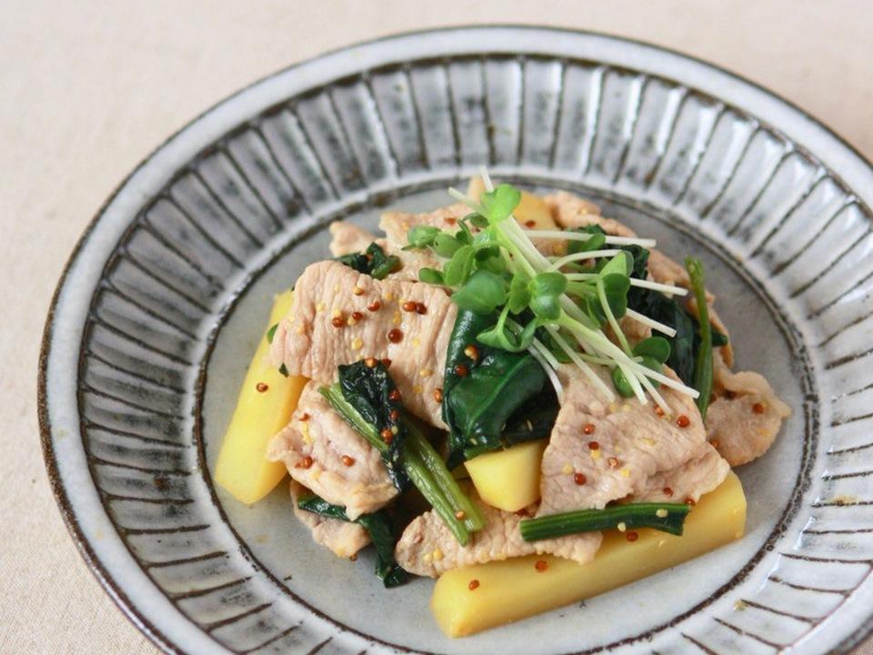 豚肉とポテトのマスタード炒め