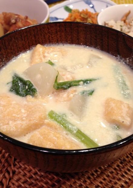 しみじみ美味しい❤ かぶの豆乳みそスープ