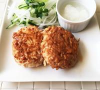 簡単 鶏ひき肉ともやしの照焼きハンバーグ