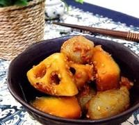 南瓜と蓮根と蒟蒻の甘辛味噌炒め