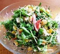 豆苗とわさび菜のわさびマヨ合え