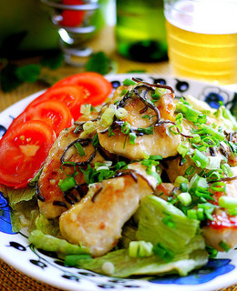 柚子胡椒の香り 鶏胸肉の塩昆布マヨソース
