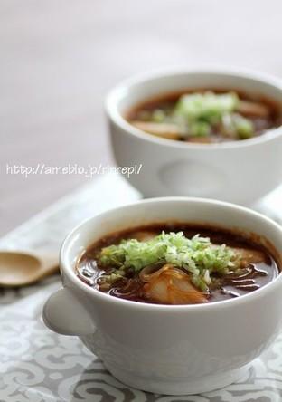 春雨入り葱のピリ辛ゴマ味噌スープ