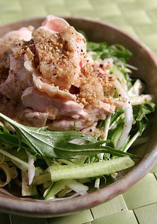 春野菜のバンバンジー風サラダ