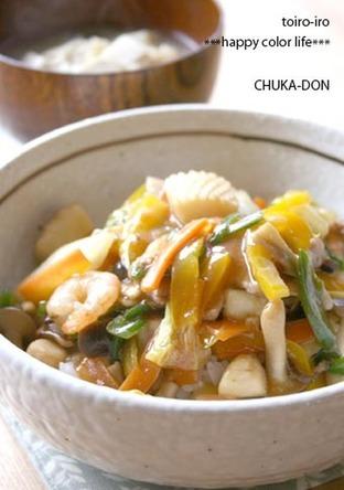 野菜たっぷり 合わせ調味料で中華丼