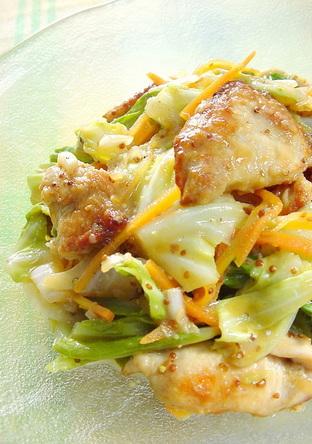 鶏胸肉と春キャベツのマスタードサラダ