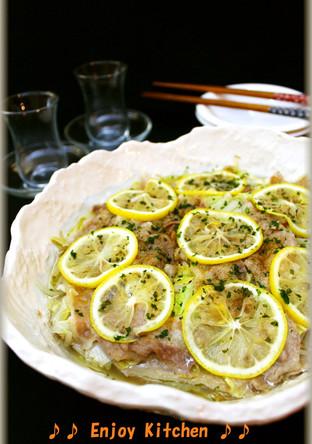レモン風味 豚肉と白菜ともやしのレンジ蒸し