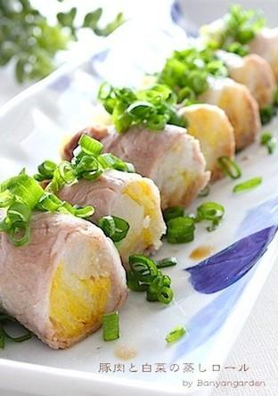 簡単 ヘルシー 豚肉と白菜の蒸しロール
