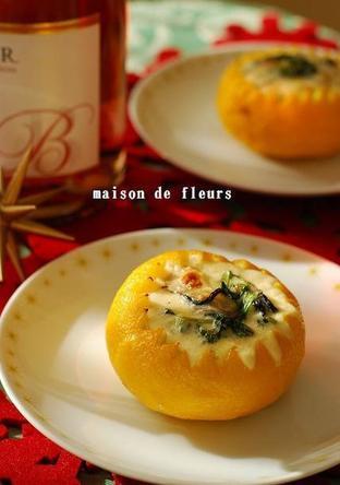 柚子釜の牡蠣グラタン