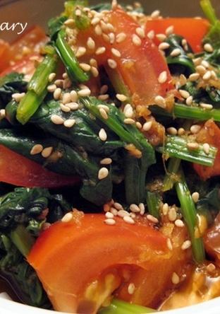 ピリ辛 ほうれん草とトマトのナムル