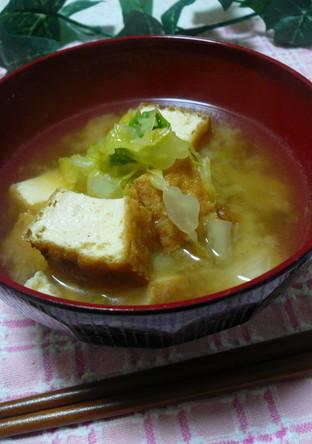 厚揚げと白菜のおみそ汁