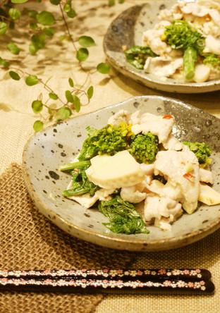 菜の花と筍と豚でピリ辛小鉢
