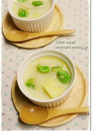 新玉 新じゃが そらまめの豆乳スープ