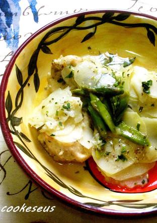 鶏肉のポテトとアスパラのスープ煮