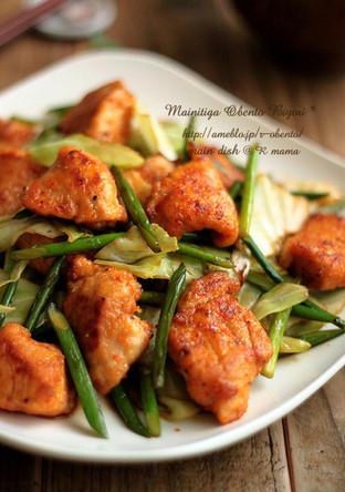 鶏肉とキャベツのピリ唐オイソース炒め