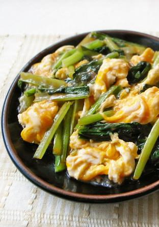 卵と小松菜の甘酢炒め