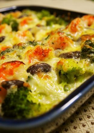 海老とブロッコリーの米粉クリーム焼き