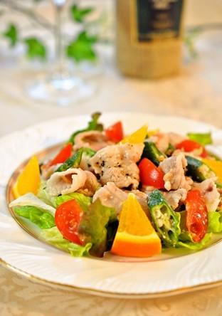 爽やかな彩りで 豚肉と野菜の塩麹ドレ和え