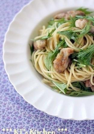 鶏肉と水菜のレモンバター醤油スパゲティ