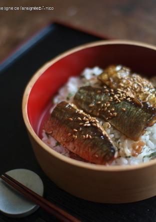 秋刀魚の蒲焼 紫蘇丼
