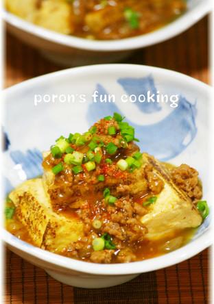 焼き豆腐と豚ひき肉の甘辛とろみ煮