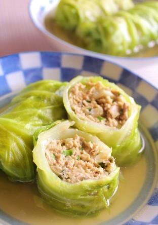 ロール餃子スープ 中華風ロールキャベツ