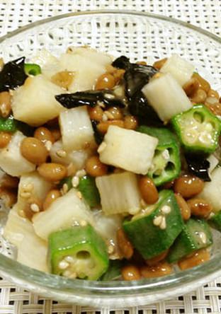 長芋 おくらと納豆の和え物