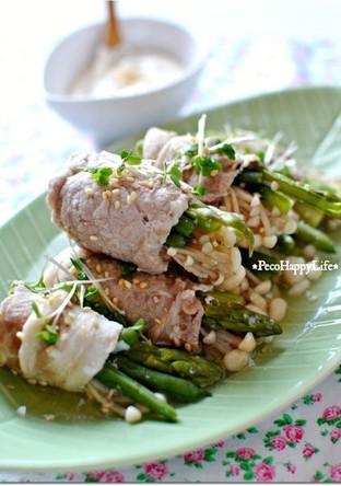 野菜の豚肉巻き 辛子味噌ヨーグルトソース