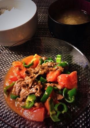牛肉とトマトのピリ辛酸味の炒めもの