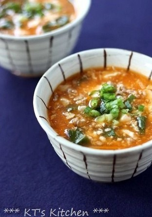 ふるふる豆腐とひき肉の韓国風スープ