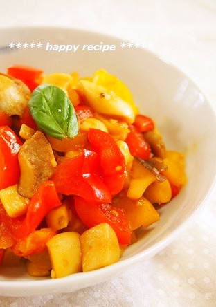 パプリカとエリンギのトマ生姜炒め