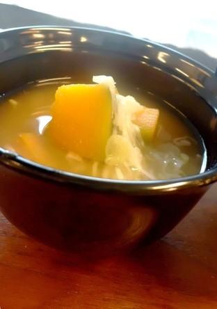 南瓜と長葱の味噌汁
