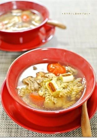 焼き野菜のしょうがスープパスタ