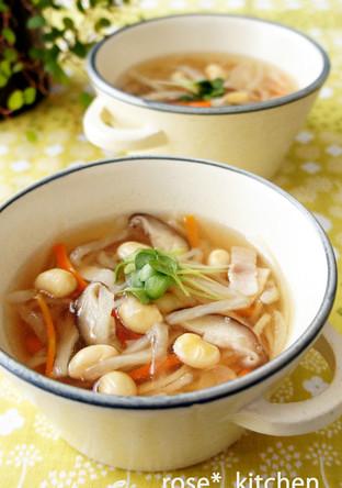 切干大根とお豆のヘルシースープ