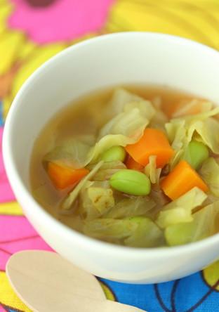 あっさりとした具沢山カレー風味スープ