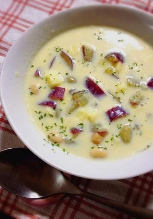 秋を感じる さつまいもと豆のスープ