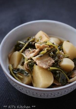 葉っぱも丸ごと カブと豚肉の煮物