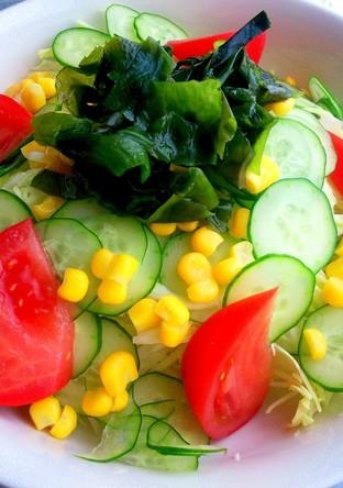 簡単ノンオイルドレッシングとサラダ