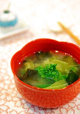 春の香り 菜の花 春キャベツのお味噌汁