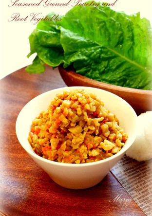 鶏ひき肉と根菜のカレー味噌そぼろ
