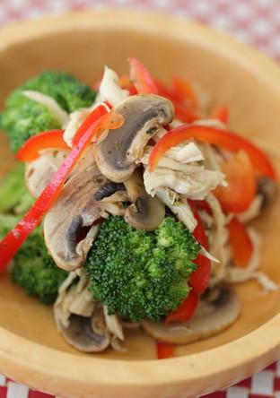 ささみとお野菜をバジルソースで和えて