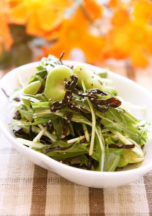 水菜とそら豆の塩こんぶレモンペッパー