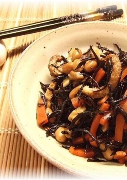 圧力鍋でヒジキと大豆の柔らか煮