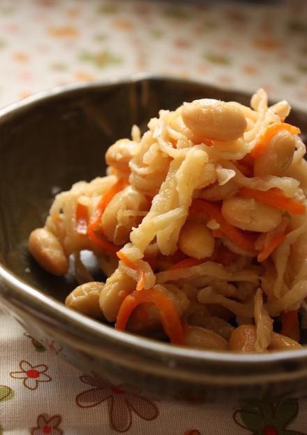 大豆と切干大根の生姜味噌炒め
