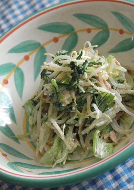 水菜と青梗菜のツナマヨボイルサラダ