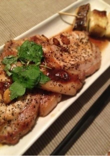 豚肉の和風ガーリックステーキ。