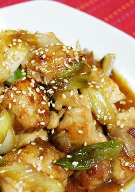 簡単美味しい 鶏もも肉と白ねぎの照り焼き